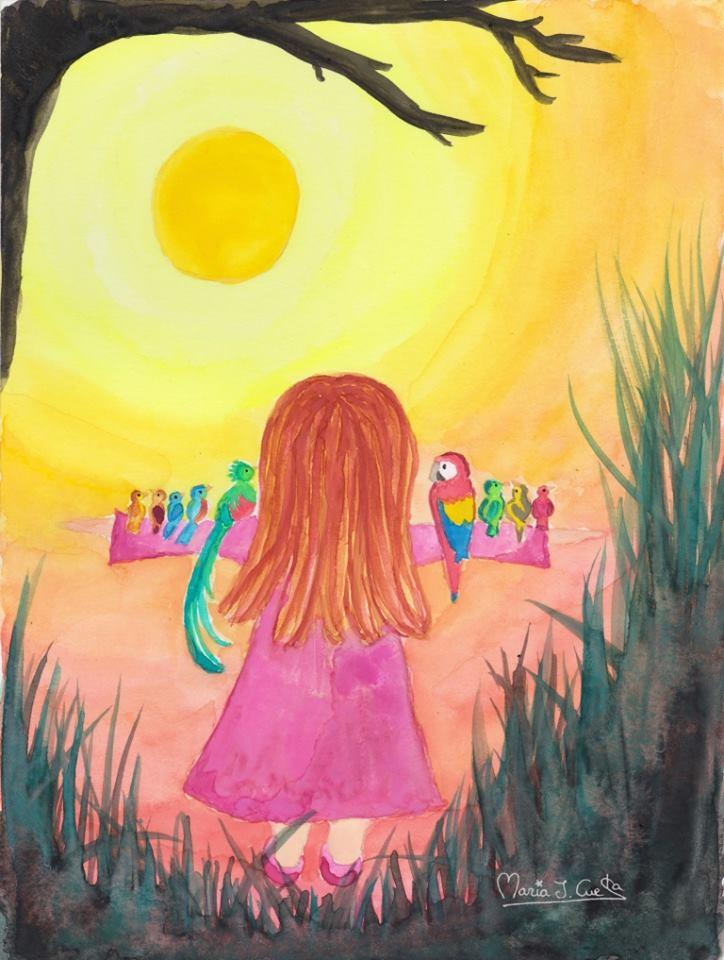 Birds Sunset girl MariaJCuesta. Children's Books. Art. Illustration.