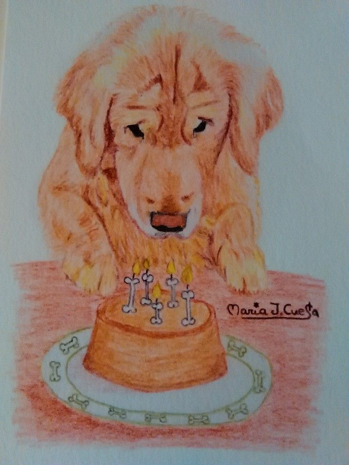 Happy Birthday Dog MariaJCuesta. Children's Books. Art. Illustration.
