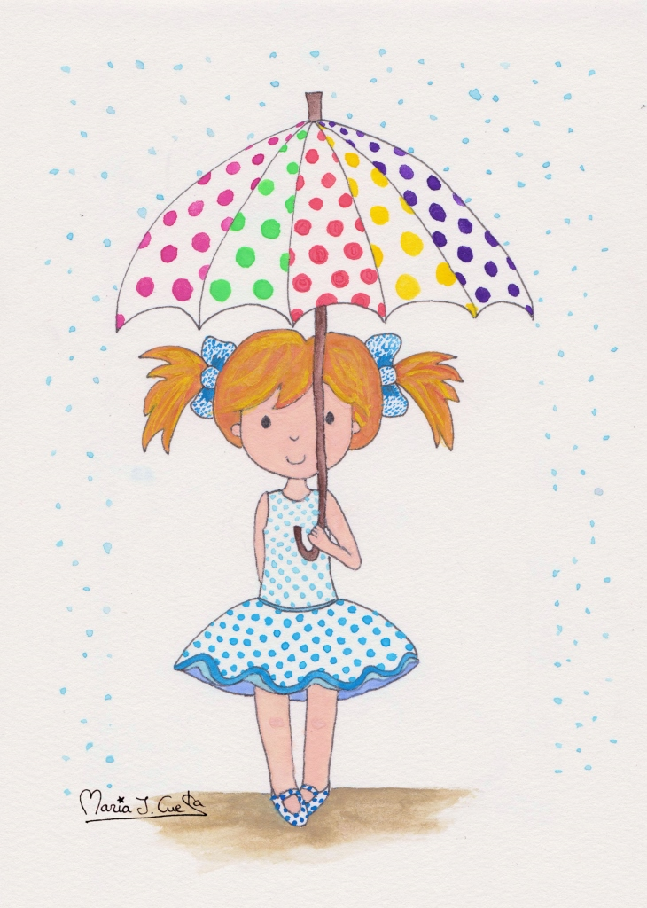 Colorful umbrella rainy days MariaJCuesta. Children's Books. Art. Illustration.
