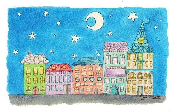 Houses night MariaJCuesta. Children's Books. Art. Illustration.