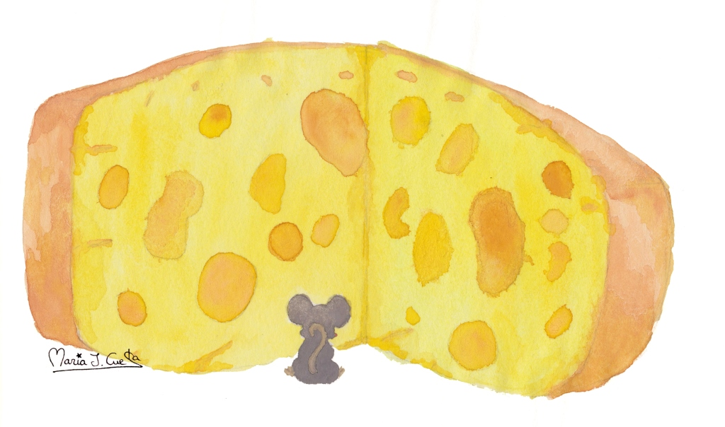 Cheese Feast little mouse MariaJCuesta. Children's Books. Art. Illustration.