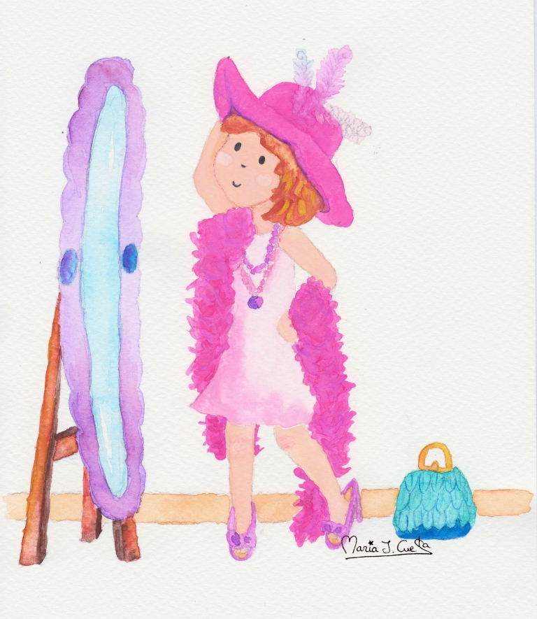 Feathers girl MariaJCuesta. Children's Books. Art. Illustration.