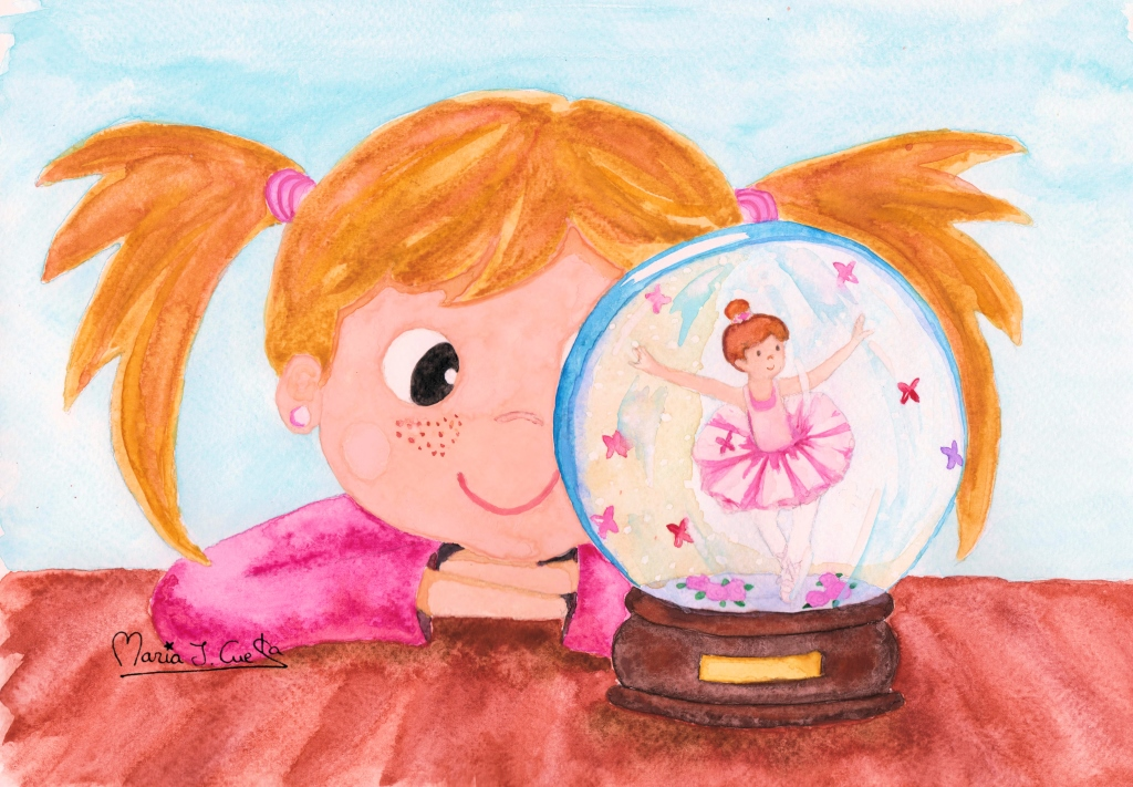 Snow globe ballerina MariaJCuesta. Children's Books. Art. Illustration.