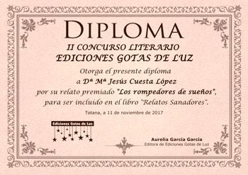 Diploma Maria Jesus Gotas de Luz 2017 Relatos Sanadores